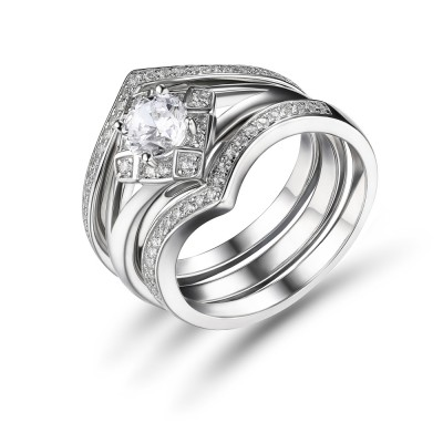 Weißemer Saphir Rundschnitt 925 Sterling Silber Braut-sets