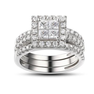 Princess Schliff Weißem Saphir 925 Sterling Silber Braut-sets