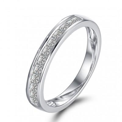 Princess Schliff Weißemer Saphir Sterling Silber Memoire Ringe