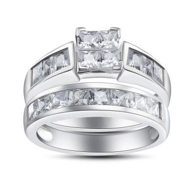 Princess Schliff 925 Sterling Silber Weißem Saphir Braut-sets