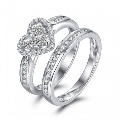 Herz Schliff Weißem Saphir 925 Sterling Silber Braut-sets