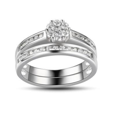 Runder Schliff Weißemer Saphir 925 Sterling Silber Braut-sets