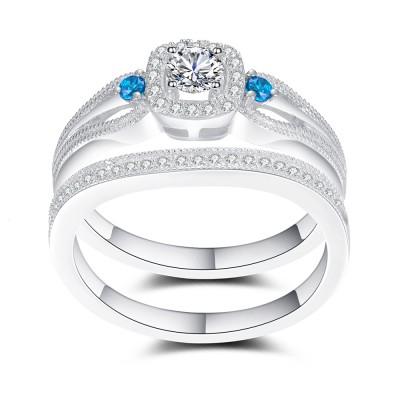 Aquamarin und Weißemer Saphir 925 Sterling Silber Braut-sets