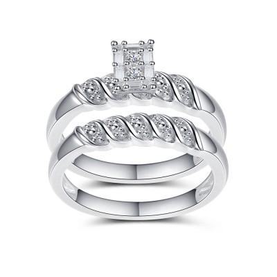 Mysterious Damen Weißemer Saphir Runder Schliff 925 Sterling Silber Braut-sets