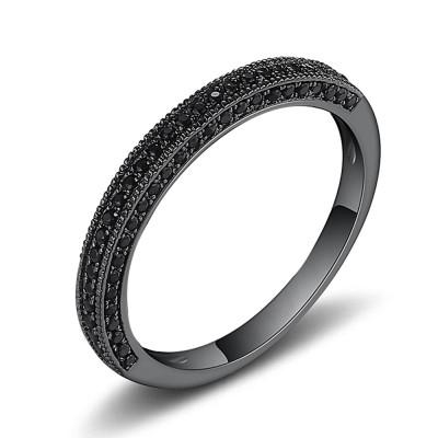 Schwarzer Saphir Schwarzer Sterling Silber Memoire Ringe