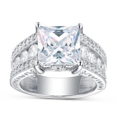 Weißemer Saphir Princess Schliff 925 Sterling Silber Verlobungsringe