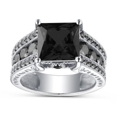 Princess Schliff Schwarze saphir 925 Sterling Silber Verlobungsringe