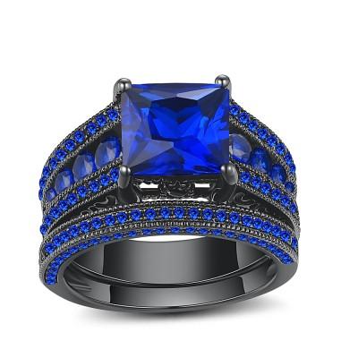 Saphir Princess Schliff Schwarz 925 Sterling Silber Braut-sets