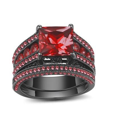 Princess Schliff Schwarz 925 Sterling Silber Rubin Ringe