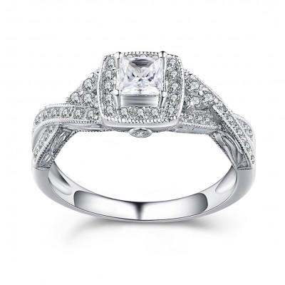 Princess Schliff Weißem Saphir Sterling Silber Halo Verlobungsringe