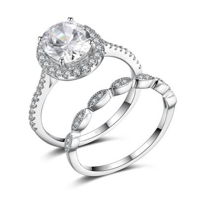Ovale Schliff Zirkonia 925 Sterling Silber Ringe Braut-sets