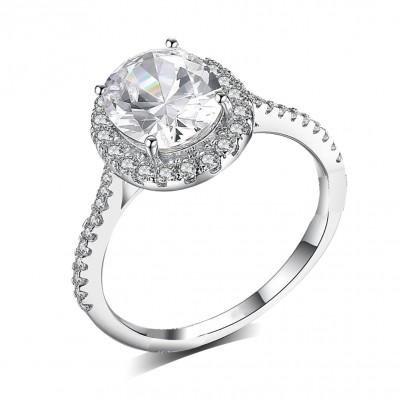 Ovale Schliff Weißem Saphir Sterling Silber Halo Verlobungsringe