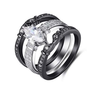 Ovale Schliff Zirkonia Schwarz 925 Sterling Silber Ringe Braut-sets
