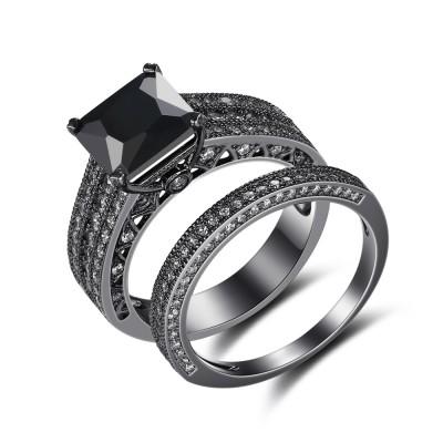 Schwarzer 925er Sterling Silber Princess Schliff Schwarze Braut-sets