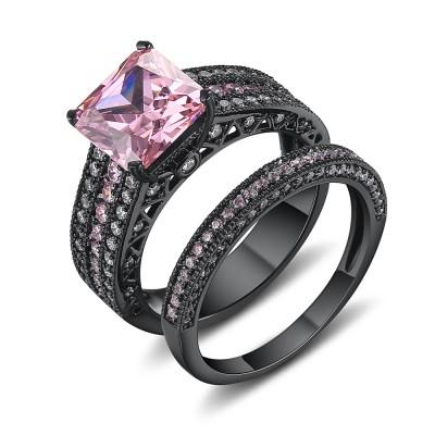Asscher Schliff Rosa saphir Schwarz 925 Sterling Silber Braut-sets