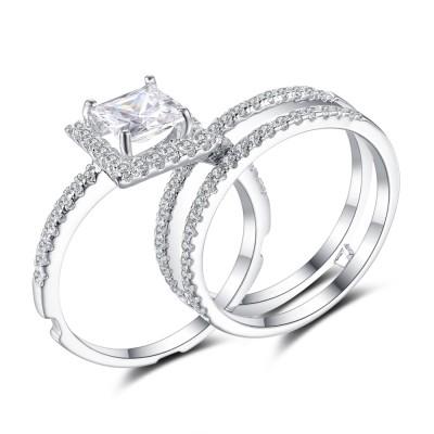 Kissen Schliff Weißem Saphir 925 Sterling Silber Braut-sets