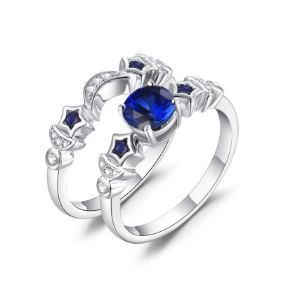 Mond und Stern Blau Saphir 925 Sterling Silber Ringe