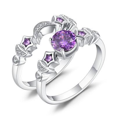 Mond und Stern Amethyst Saphir 925 Sterling Silber Ringe