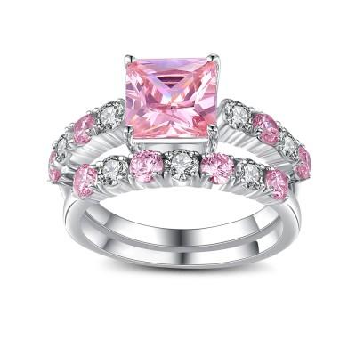 Radiant Schliff Rosa saphir 925 Sterling Silber Ringe