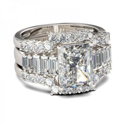 Smaragd Schliff Weißemer Saphir 925 Sterling Silber Braut-sets
