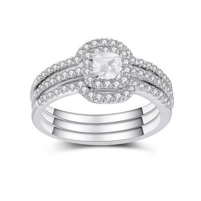 Asscher Schliff Weißem Saphir 925 Sterling Silber Braut-sets