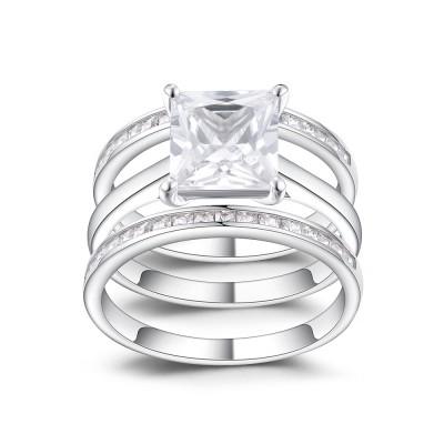 Klassischer Princess Schliff Weißem Saphir 925 Sterling Silber Braut-sets