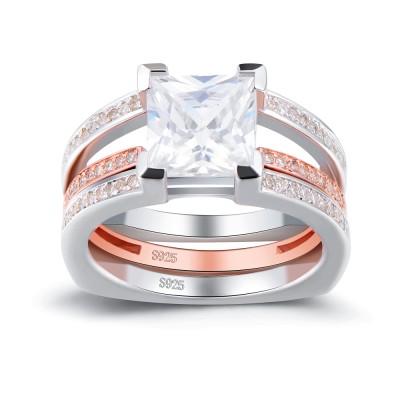RoséGelbgold Princess Schliff Weißemer Saphir 925 Sterling Silber Braut-sets