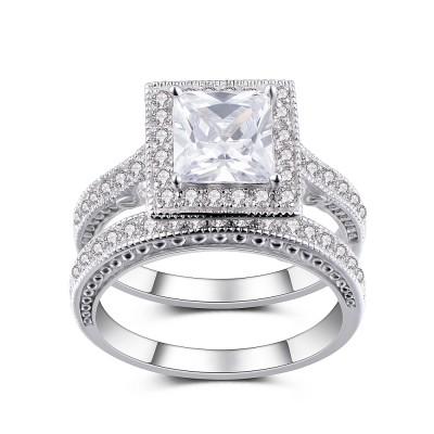 Princess Schliff Weißem Saphir Sterling Silber Braut-sets