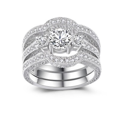 Klassischer Rundschnitt aus Weißemem Saphir 925 Sterling Silber Damen TrauRinge Set