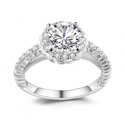 Weißemer Saphir Sterling Silber Halo Verlobungsringe