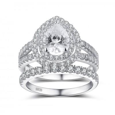 Pear Schliff Weißem Saphir 925 Sterling Silber Damenring Braut Set