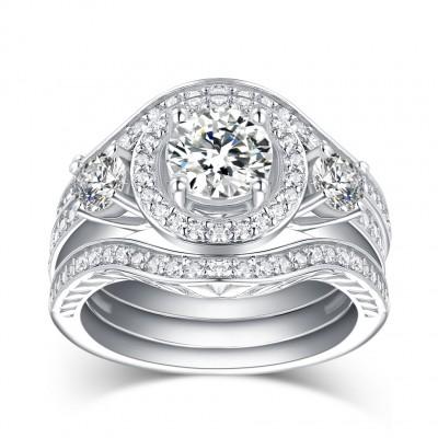 Runder Schliff aus Weißemem Saphir 925 Sterling Silber 3-steine Ringe