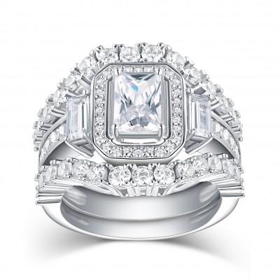 Smaragd Schliff Weißemer Saphir 925 Sterling Silber 3-steine Ringe