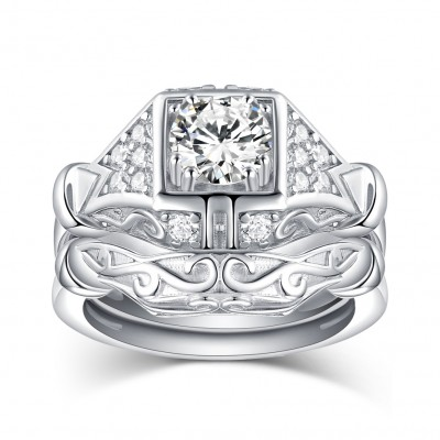 Runder Schliff aus Weißemem Saphir 925 Sterling Silber Ringe