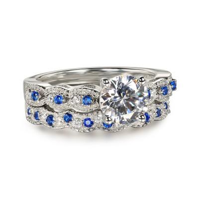 Runder Schliff blauer und Weißemer Saphir 925 Sterling Silber Ringe