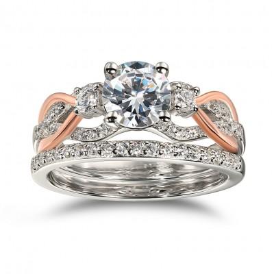 Runder Schliff aus Weißemem Saphir 925 Sterling Silber Roségold Ringe