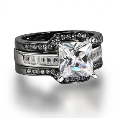 Princess Schliff Weißem Saphir Schwarz 925 Sterling Silber 3-steine Ringe