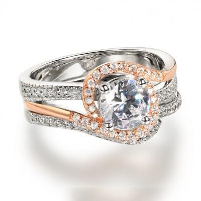 Runder Schliff aus Weißemem Saphir RoséGelbgold 925 Sterling Silber Ringe