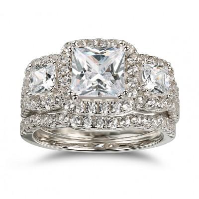 Princess Schliff Weißem Saphir 925 Sterling Silber Halo 3-Zirkonia Ringe