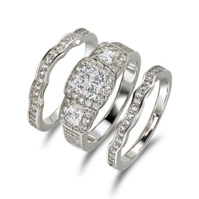 Princess Schliff Weißem Saphir 925 Sterling Silber 3-steine Ringe