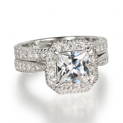 Princess Schliff Weißem Saphir 925 Sterling Silber Halo Ringe