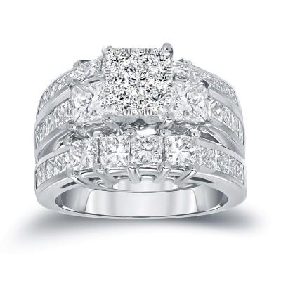 Prinzessin Schliff Weißer Saphir Sterling Silber 3-Teilige Ringsets