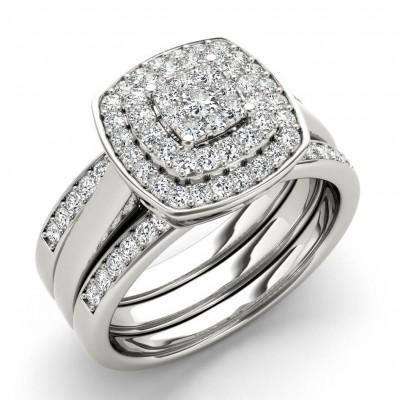 Runder Schnitt Weißer Saphir 925 Sterling Silber Halo 3-Teilig Ringe Set