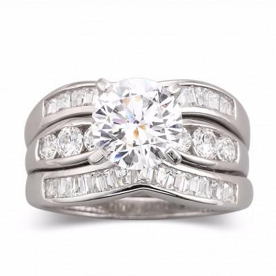 Runder Schliff Weißem Saphir 925 Sterling Silber 3 Teilige Braut Ringset