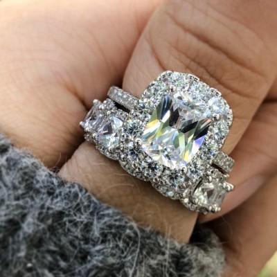 Cushion Weißer Saphir Silber 925 Halo Hochzeit Ring Sets