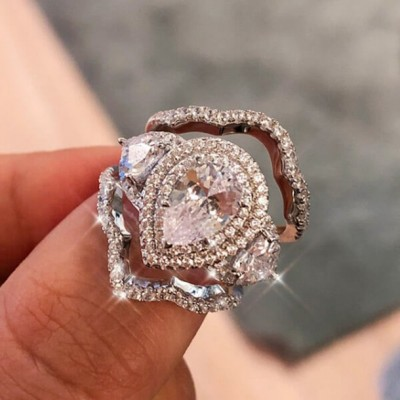 Tropfen Weißer Saphir Silber 925 Halo 3 Stücke Hochzeit Ring Sets