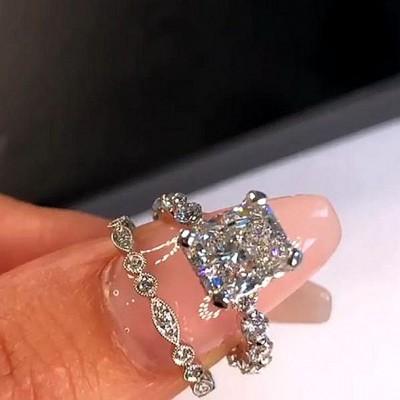 Strahlenden Weißer Saphir Silber 925 Hochzeit Ring Sets