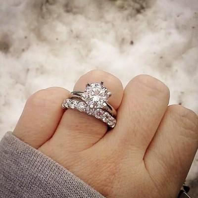 Rund Weißer Saphir Silber 925 Hochzeit Ring Sets