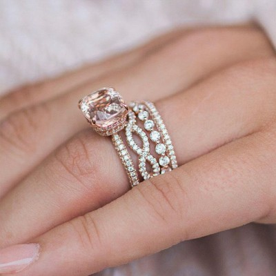 Cushion Champagne Sapphire Rotgold Silber 925 Hochzeit Ring Sets