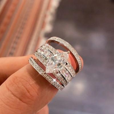 Marquise Weißer Saphir Silber 925 3 Stücke Hochzeit Ring Sets